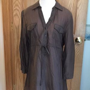 Brown tunic with drawstring at waist